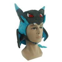 Wholesale Dragon Baby Hats - Pikachu XY Charizard hat poke plush pikachu Dragon Cover Animal Stuffed Plush Hat Toy Baby Gift Free shipping