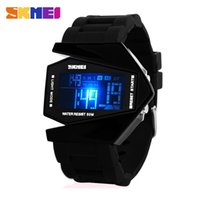 Wholesale Airplane Shape Watches - 2015 New Skmei Unisex Sport Military Watches 5ATM Water Resistant Digital Airplane Shaped Fashion LED Colorful Light Men Watch