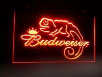 ingrosso segni principali-b-11 Budweiser Frank Lizard Beer Bar Segni di luce al neon a LED
