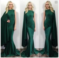 Wholesale Light Green One Shoulder - 2016 Hunter Green One Shoulder Party Dresses Pleats Long Sleeves Mermaid Prom Dress Sweep Train Cocktail Dresses Evening Wear