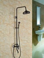 Wholesale Bronze Shower Faucets - Wholesale And Retail Promotion Oil Rubbed Bronze Bathroom Rain Shower Head Faucet Tub Spout Mixer Tap W  Hand Shower