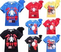 Wholesale Big Boys Summer Clothes - new summer Big hero 6 Tee T-shirt short sleeve cartoon shirts boys shirt Baymax cotton tops kids clothes