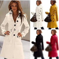 Wholesale Slim Large Lapel Coat - Free shipping Wool Coat Cashmere Middle_Length Women's Outerwear Coats,Slim Sexy Trench Coats,Large Size Ladies' Cloth Overcoat