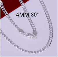 Wholesale Xmas Sale Jewelry - Wholesale-Hot Sale Mens Silver Chain Necklace Multi-size 925 Sterling Silver 4mm Necklaces Fashion Jewelry Boy Chains Xmas Gifts SPCN132
