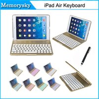Wholesale Covers Para Ipad - hot Colorful Backlighting bluetooth keyboard For ipad air case Aluminium alloy teclado para Smart Cover for ipad air with Stand Gold 010242