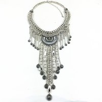 Bohemia Style Beachy Chic Colliers Layered Vintage Silver Chain Sculpture Coin Collier Beach Statement Long Necklaces Pendentifs