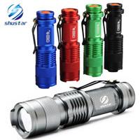ingrosso modello luci lampeggianti-Torcia a LED impermeabile colorata ad alta potenza 2000LM Mini Spot Lampada 3 modelli Zoomable Camping Equipment Torch Flash Light