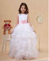Wholesale Organza White Pink Flower - Princess White Jewel Neck Flower Girl Dresses Ruffles A-Line Satin and Organza Cheap Girl Dress for Wedding Party Gowns With Pink Bow
