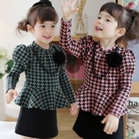 Wholesale Korean Style For Autumn - Dress For Princess Girls Korean Houndstooth Puff Long Sleeve Dress Child With Necklace Pure Cotton Fashion Kids Dresses Costume TR134