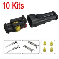 Wholesale Auto Electrical Parts Wholesalers - 10sets New Car Part 2 Pin Way Sealed Waterproof Electrical Wire Auto Connector Plug Set FREE SHIPPING