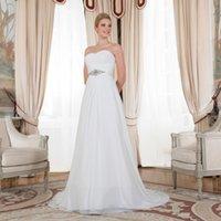 Wholesale Gathered Chiffon White Wedding Dress - Sexy Gathered Romantic Ruched Bodice Sweetheart Empire Waist Plus Szie Chiffon A-line Wedding Dresses 2016 Beading