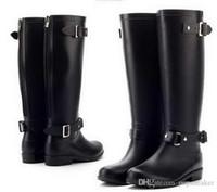 Wholesale fashion rain boots women - Brand Women Rainboots Knee-high tall Top fashion Designer rain boots waterproof boots Rubber rainboots water shoes v5 rainshoes sale