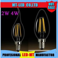 X100 Edison Filament Led Candle Lamp dimmable 2W 4W E12 E14 E27 Lâmpadas Led Light High Bright 120LM / W Warm White 2700K Led Lamp AC 110-240V
