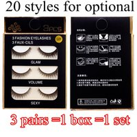 Wholesale Nature Cross - 20 Styles Fashion False Eye Lashes 3D Nature Cross Thick False Eyelashes Extension 3 pairs box Eye Makeup Handmade Fake Eyelashes DHL Free