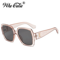 Wholesale transparent pink crystal glass - WHO CUTIE 2018 Oversized PINK Transparent Sunglasses Square CRYSTAL Frame Vintage Flat Top Sun Glasses Clear lens Shades OM454