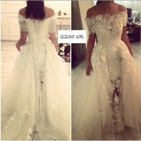 Wholesale Ivory Lace Organza Bolero Wedding - 2016 New Ivory Or White Sweetheart Mermaid Lace Wedding Dresses Chapel Train Long Bridal Gowns No Sleeve With Off-Shoulder Wraps Bolero