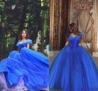 vestido de fiesta de tul de cenicienta al por mayor-2018 Cenicienta Hielo azul hombro hombros vestidos de baile Puffy Princess pliegues Ropa de noche Tul Quinceañera Vestido especial de gala Vestido Ecening Wear