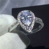 Wholesale 3ct engagement rings - Heart love ring 925 Sterling silver Engagement wedding band rings for women Pear cut 3ct Clear AAAAA zircon crystal Bijoux