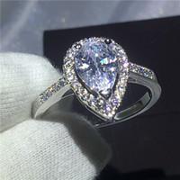 kalp kesme alyans toptan satış-Kalp aşk yüzük kadınlar için 925 Ayar gümüş Nişan düğün band yüzük Armut kesim 3ct Temizle Elmas kristal Bijoux