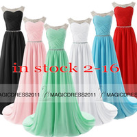 Wholesale Sparkly Mini Prom Dress - 2015 Sparkly Prom Evening Gowns IN STOCK A-Line Sheer Neck White Black Red Mint Blue Pink Long Formal Pageant Gown Dresses for Women 2014