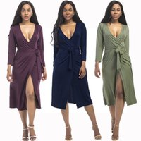 SEXY HYPERELASTIC PLUS SIZE PURE COLOR DEEP VNECK NINE POINTS SLEEVE RIBBON BELT PENCIL DRESS SWING TUNIC SKIRT SPLIT PARTY DRESS