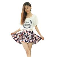 Wholesale New Mini Skirts - New Fashion Women Short Pleated Skirt Summer Floral Printed Pattern Elastic Waist Soft Lining Mini Skirt Saia with Free Belt