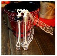 Wholesale Groom Wedding Bubble - DHL 96pcs lot EMPTY Bride And Groom Wedding Bubble Bottles Soap Water For Baby Shower Favors 1203#03