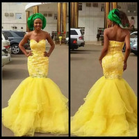 Wholesale Ladies Mermaid Ruffle Dress - Modest Sweetheart Yellow Lace Mermaid Prom Dresses Tiered Tulle Beaded Crystal Ladies Formal Evening Party Gowns 2018 Custom Plus Size