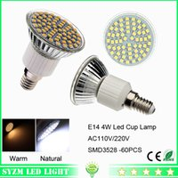 Wholesale Smd3528 E14 - e14led lights bulbs Warm White Nature White Cool White 60-smd3528 led glass cup lamp 4W led spotlight indoor lighting