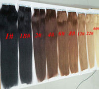 Wholesale Hair Extension Weft Remy Auburn - Top quality 50g 20pcs 25pcs Glue Skin Weft PU Tape in Human Hair extensions 18 20 22 24inch Brazilian Indian hair extension