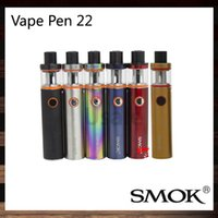 Wholesale Led Kit Red Blue - SMOK Vape Pen 22 Kit With 1650mah Battery All-in-one Vapor System LED indicator Design Multiple Automatic Protections 100% Original