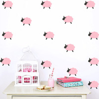 Wholesale Sheep Wall Stickers - Children's room Cartoon sheep kids wall stickers bedroom decoration wall decals baby stickers mural