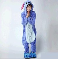 Wholesale Couples Onesie Pajamas - Free Shipping Pink Blue lilo Stitch Coral Fleece Adult Footie Pajamas Onesie Animal Pyjamas Costume couple Fleece Sleepwear Cute cosplay