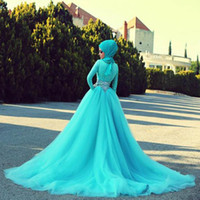 Wholesale Turquoise Ball Gowns Sleeves - Turquoise Lace Ball Gown Muslim Wedding Dresses With Hijab 2015 Long Sleeves Crystals Wedding Gowns O-neck robe de marriage