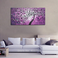 Wholesale Oil Painting Frame Knife - 100% Hand-painted No Frame On The Back Knife Painted Purple Bottom White Flowers Wall Decor Landscape Oil Painting On Canvas