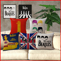 Wholesale beatles pillows - 8 types Beatles band Cotton Linen Pillow Case square Cushion Covers Throw pillow covers cases Car Chair Home sofa Bedding set 240380