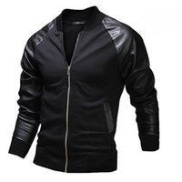 6a7e79376c62 herren leder blazer jacke großhandel-FG1509 neue beiläufige Jacke 2015  Spring Fashion Mens Black Leather