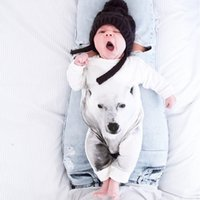 Wholesale Bear Suit Halloween Costume - Free DHL 2016 New Baby romper suit Cotton long sleeve 3D Polar bear Pure cotton Printing rompers boys girls costumes Toddlers suits