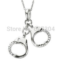 Wholesale Rhinestone Handcuffs - Fashion design 5pcs a lot rhodium plated handcuff with crystal pendant necklaces jewelry