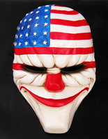Wholesale Joker Resin Mask - Halloween Masquerade Cosplay New PAYDAY 2 dallas US National flag mask Heist joker clown costume Adult Party Head Mask