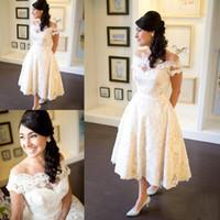kısa vintage düğün elbisesi düğmesi toptan satış-Zarif Vintage Ülke Kısa Gelinlik Cap Sleeve Çay boyu Düğmesi Arka Dantel Kısa Gelinlikler Gelin Elbiseler