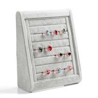 Wholesale Dust Plug Design - High-end Grey Wood Velvet Ring Earrings Stud Mobile Dust Plugs Jewelry Display Storage Stand Holder Tray Tripod Design