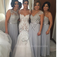 Wholesale Fast Delivery Prom Dresses - Fast Delivery Beaded Lace Appliques Chiffon Bridesmaid Dresses With Ribbon 2015 New Style Prom Dress Custom Made BDS023