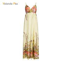 Wholesale Three Quarter Length Sleeve Plus - Yolanda Paz 2018 Summer Women Floral Print Maxi Dress V-Neck Three Quarter Sleeve Casual Long Dress Plus Size Women Dresses