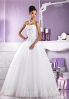 Wholesale Empire Waist Tulle Strapless Dress - Empire Waist Ball Gown Strapless Lace Floor Length White Tulle Lace Wedding Dress Lace Up Modest Classic Bridal Gowns Beaded