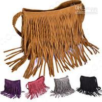 Wholesale Wholesale Suede Purses - New Women Soft Faux Suede Tassels Hobo Clutch Purse Handbag Shoulder Totes Bag B098
