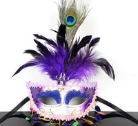paint masking products - Venice mask products Feather Mask Halloween mask painting beauty with a feather floating hair mask colors JIA
