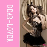 Wholesale Sexy Leopard Print G String - Wholesale-Wholesale Leopard Corset,4 PCS Women Fantasy Leopard Deluxe Corset with G-string LC5125 Sexy Cosplay Adult Halloween Costume Set