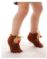 Wholesale Cute Sweet Boys - Baby Christmas Towel Foot Socks Girls Boys 3D Autumn Winter Floor Stocking Socks Infant Kids Fashion Sweet Cute Pretty Sock Christmas Gift