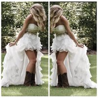 Wholesale High Low Ruffles - Graceful Summer Garden Beach High Low Wedding Dresses Hi-Lo Crystal Beaded Sweetheart Bridal Gowns Low Back Ruffles Bling Wedding Gowns 2015